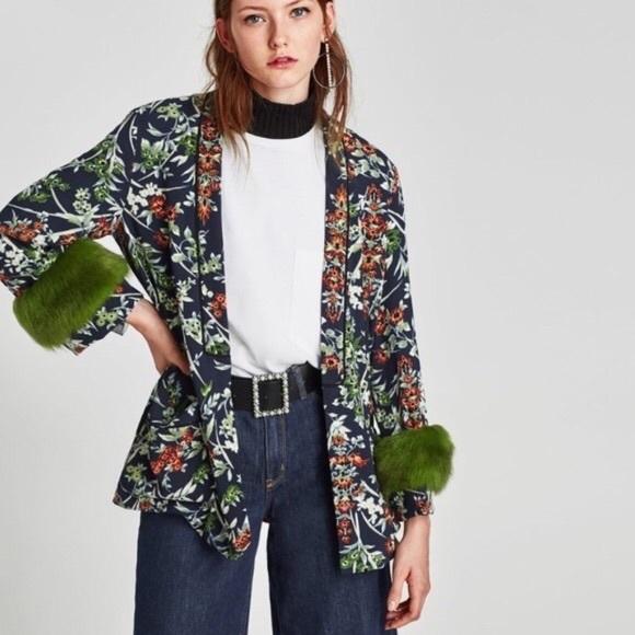 Zara Printed Blazer With Faux Fur Cuffs